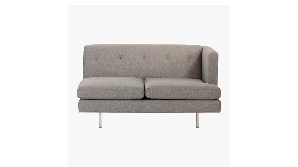 Avec Grey Right Arm Sofa with Brushed Stainless Steel Legs