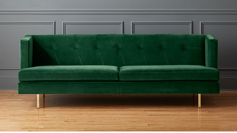 Avec Emerald Green Velvet Sofa With Brass Legs Reviews Cb2