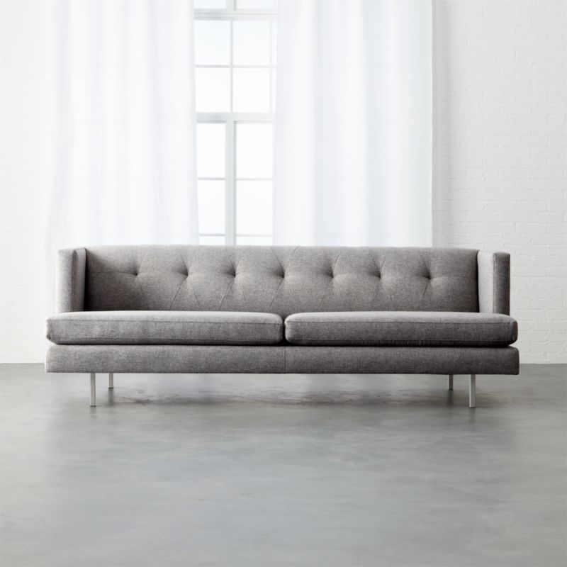 Avec Grey Sofa With Brushed Stainless Steel Legs Cb2