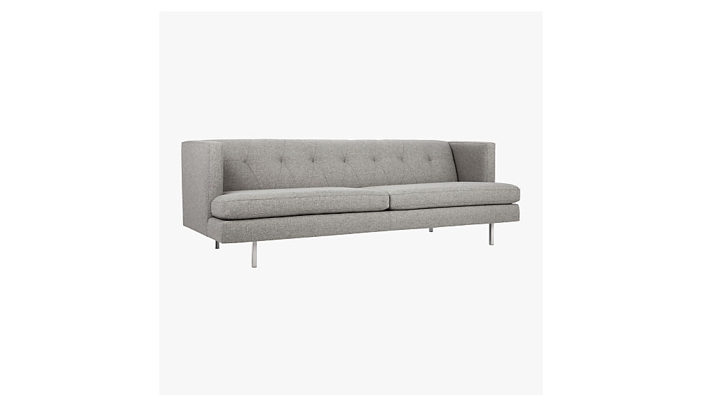 avec grey sofa with brushed stainless steel legs
