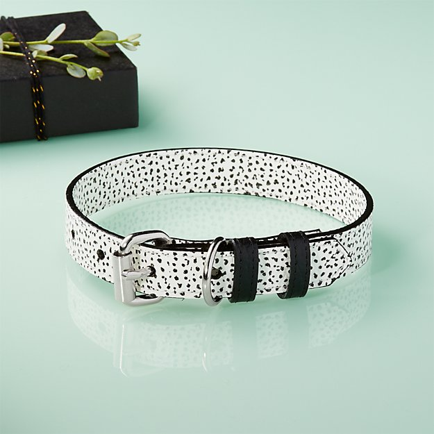 Ballouch Black and White Large Leather Collar