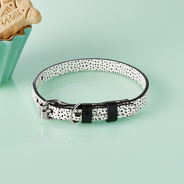 Ballouch Black and White Small Leather Collar