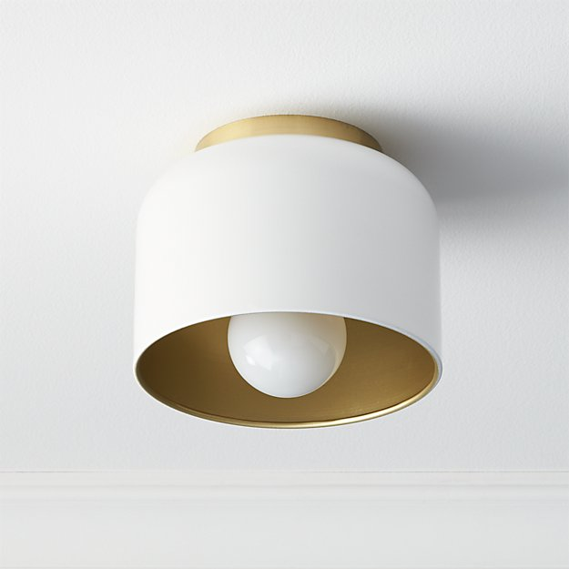 bell white flush mount lamp CB2