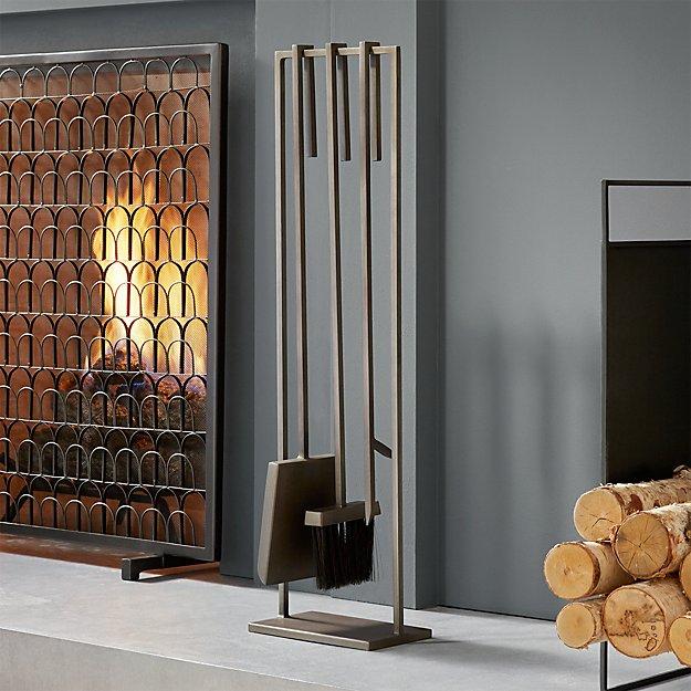 3 piece gunmetal iron fireplace tool set CB2