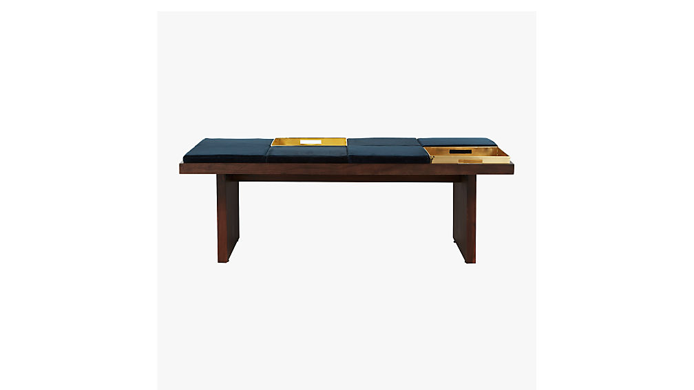bento coffee table with two trays and six cushions