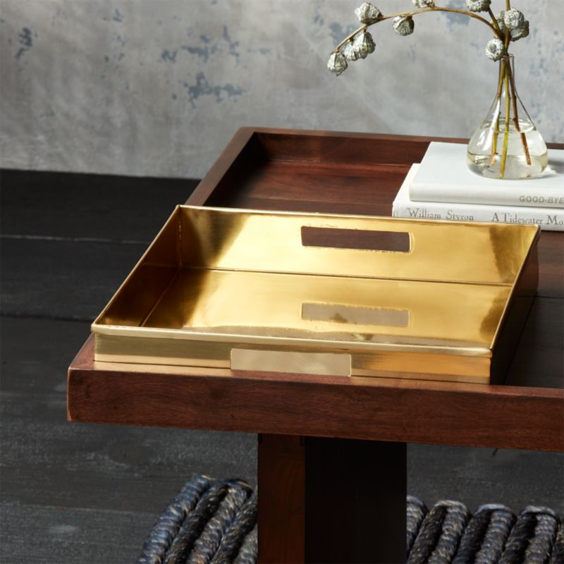 Ottoman Coffee Table Cb2: Bento Brass Coffee Table Tray