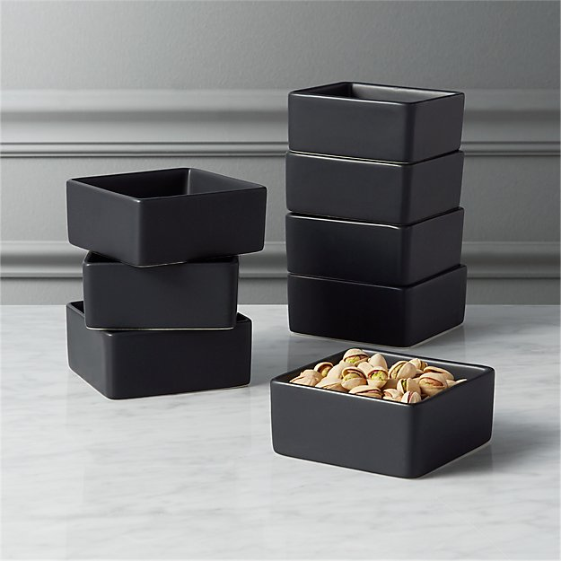 set of 8 bento matte black mini bowls