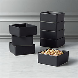 bento matte black mini bowls set of eight