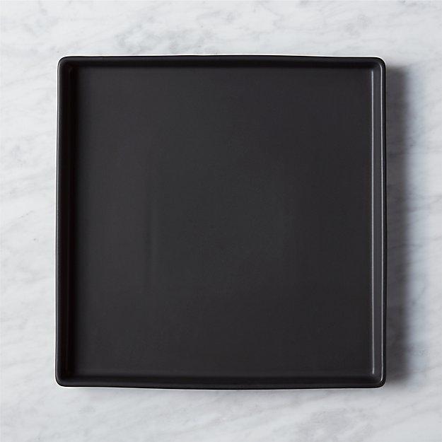 bento matte black square platter
