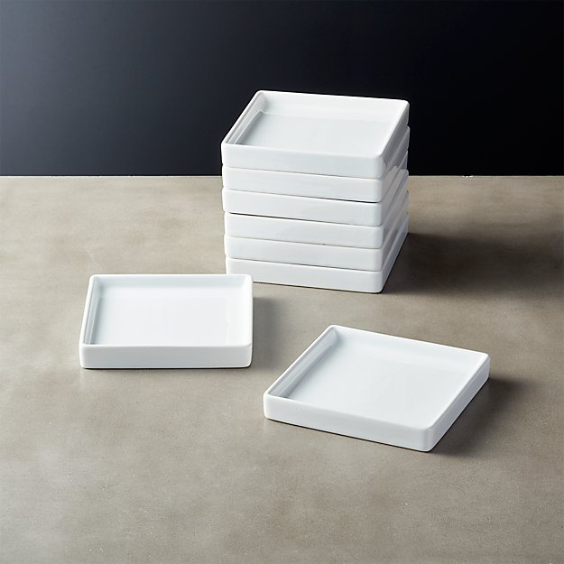 Bento Small Square Plate Set Of 8 Reviews Cb2