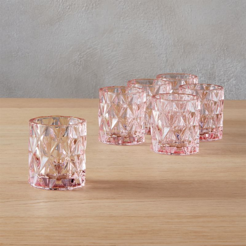 Set Of 6 Betty Pink Tea Light Candle Holders Reviews Cb2