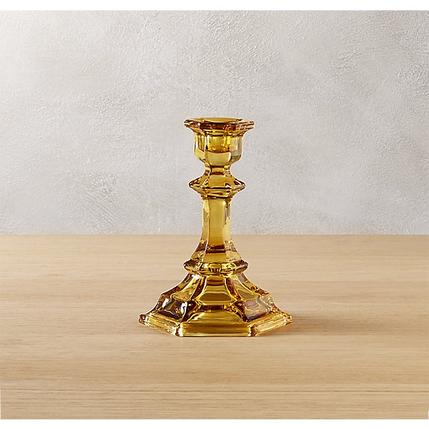 beverly small amber taper candle holder
