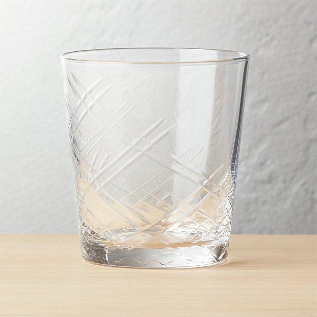 Bias Etched Double Old-Fashioned Glass