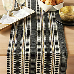 jacquard black table runner