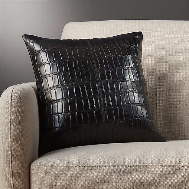 "16"" black leather croco pillow"