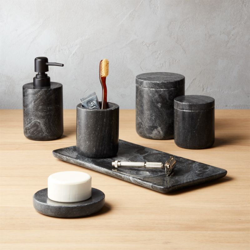Black Marble Bath Accessories Cb2