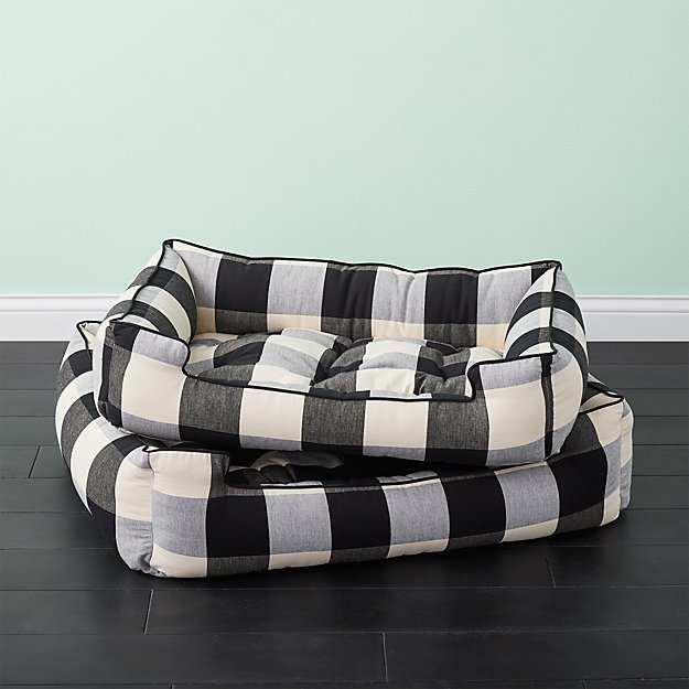 Black And White Plaid Dog Bed Cb2