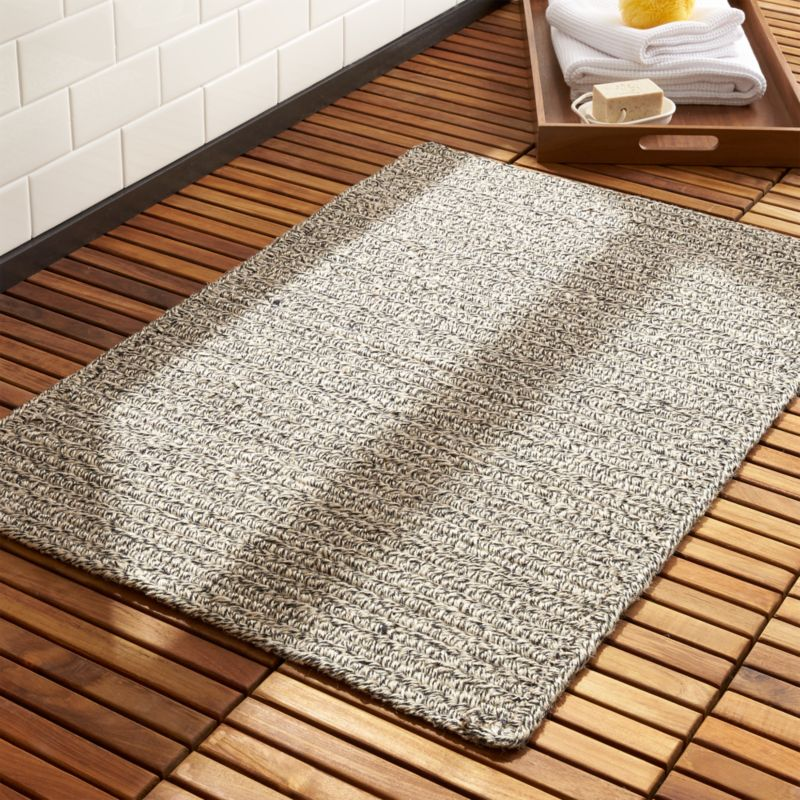 Black Braided Reversible Bath Mat CB - Black and white tweed bath rug for bathroom decorating ideas