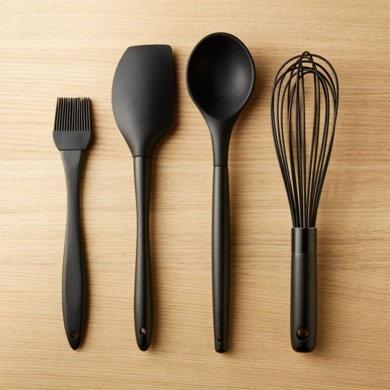 Kitchen tools utensils and other cooking accessories cb2 black silicone kitchen utensils set of 4 teraionfo