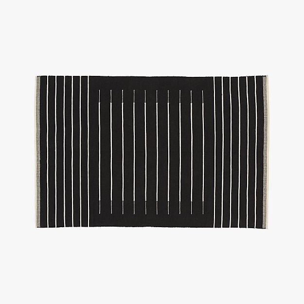 Black With White Stripe Rug 5 X8 Cb2