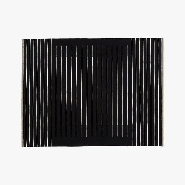 black with white stripe rug 9'x12'