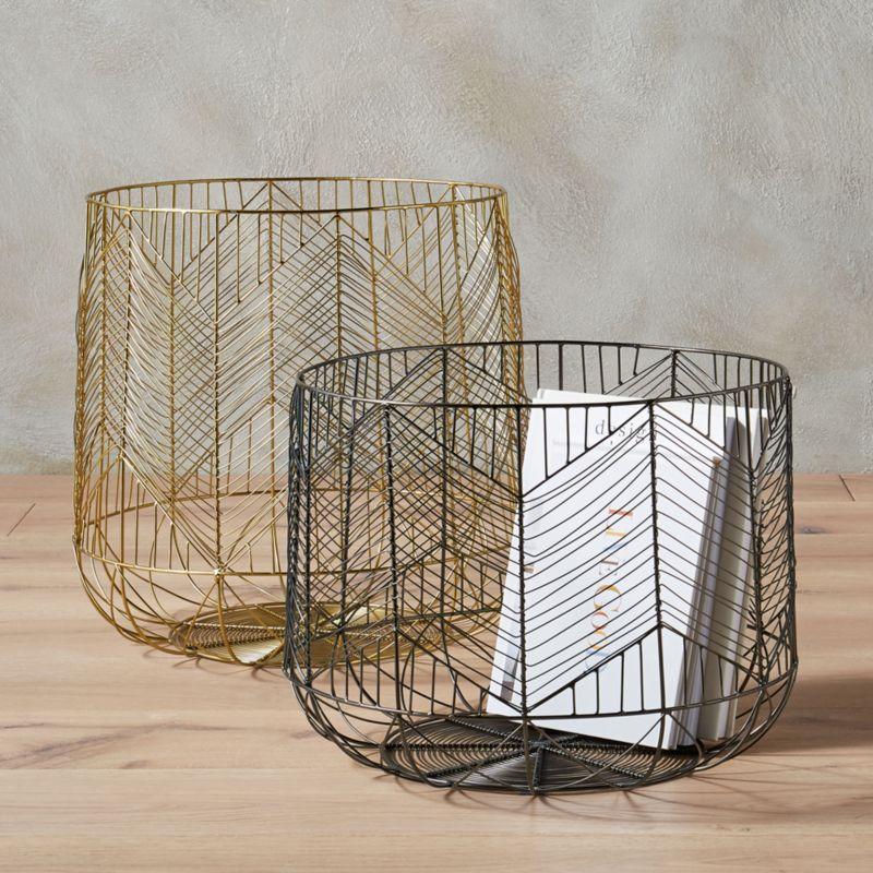 Blanche Metal Wire Baskets Cb2
