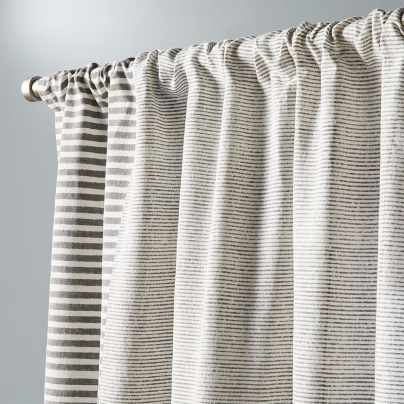 Block Printed Stripe Curtain Panel