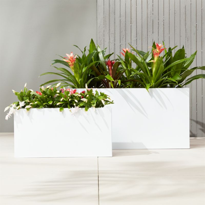 Blox Rectangular Galvanized Hi Gloss White Planters Cb2