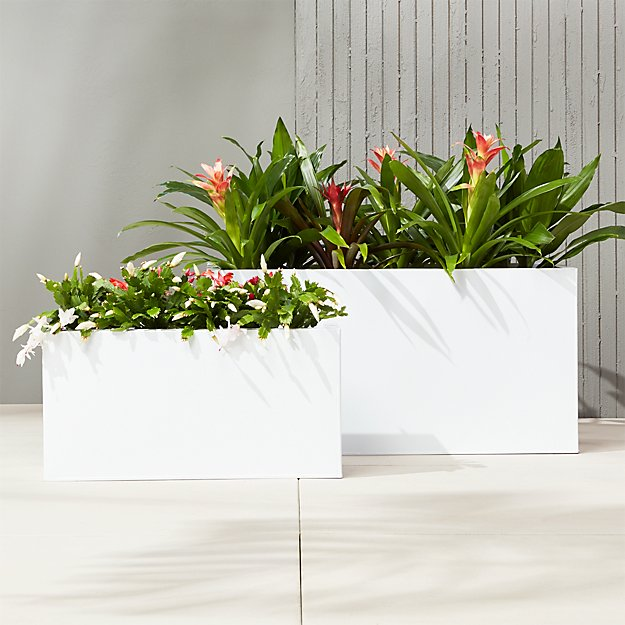 blox rectangular galvanized hi-gloss white planters