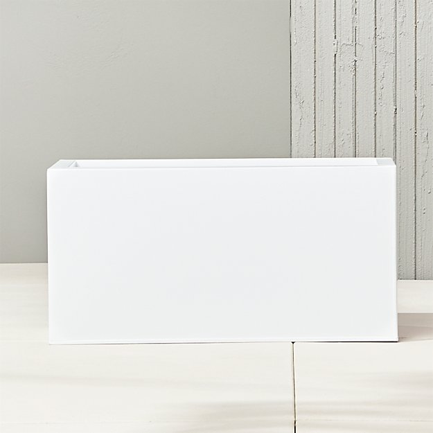 "blox 24"" low galvanized hi-gloss white planter"