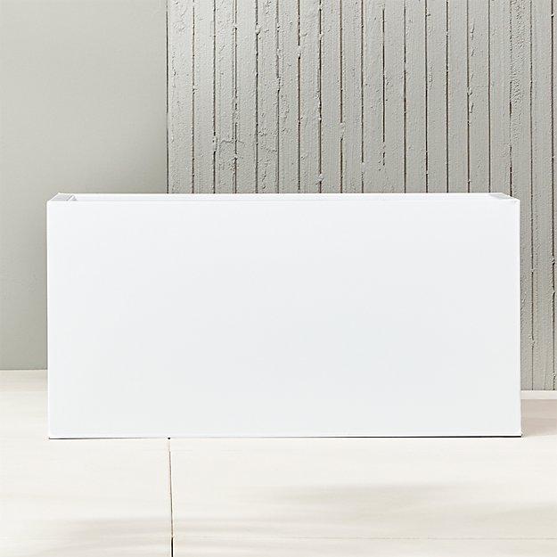 "blox 32"" low galvanized high-gloss white planter"
