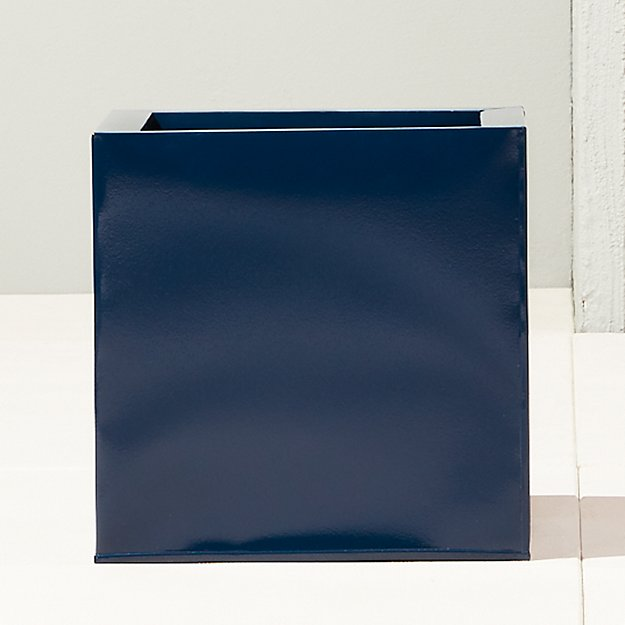 blox hi-gloss medium square navy planter