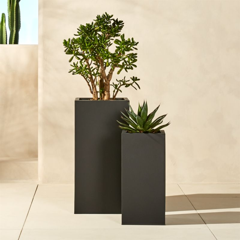 Blox tall galvanized planters cb2 Tall narrow indoor plants
