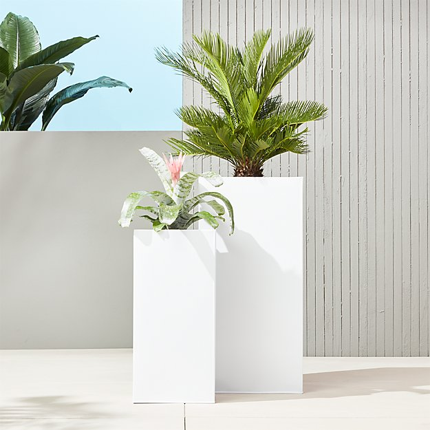 blox tall galvanized hi-gloss white planters