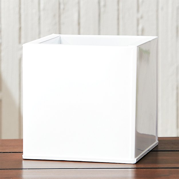 blox small square galvanized hi-gloss white planter