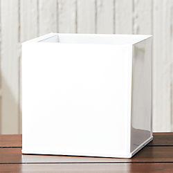 blox small square galvanized hi-gloss white planter