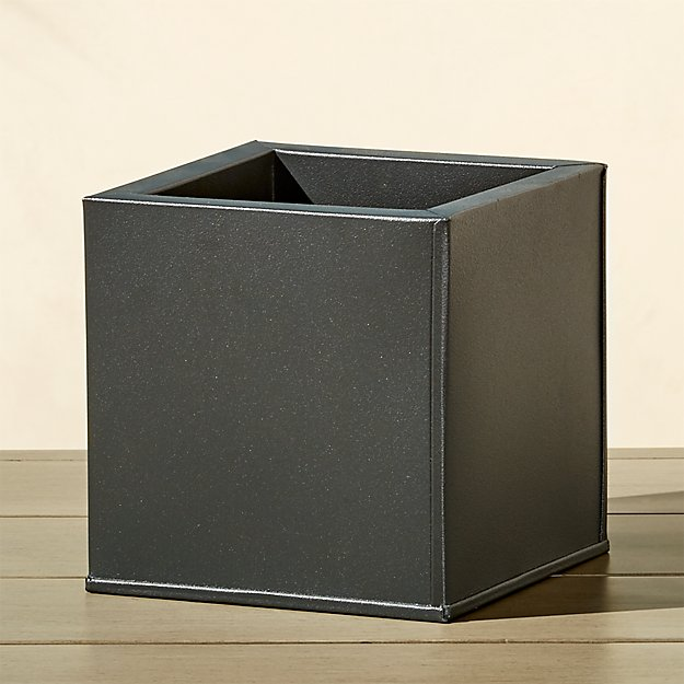 blox small square galvanized charcoal planter