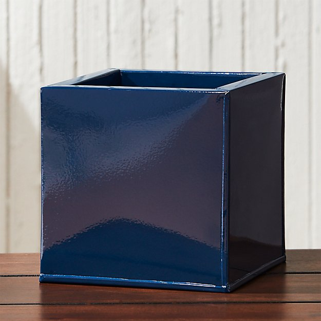 blox hi-gloss small square navy planter