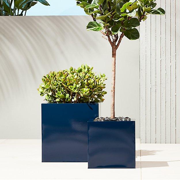 blox hi-gloss square navy planters