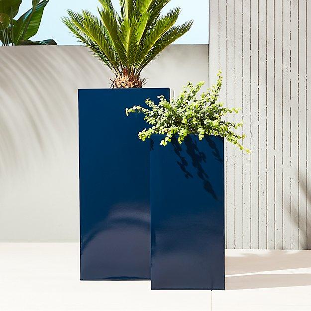 blox hi-gloss tall navy planters