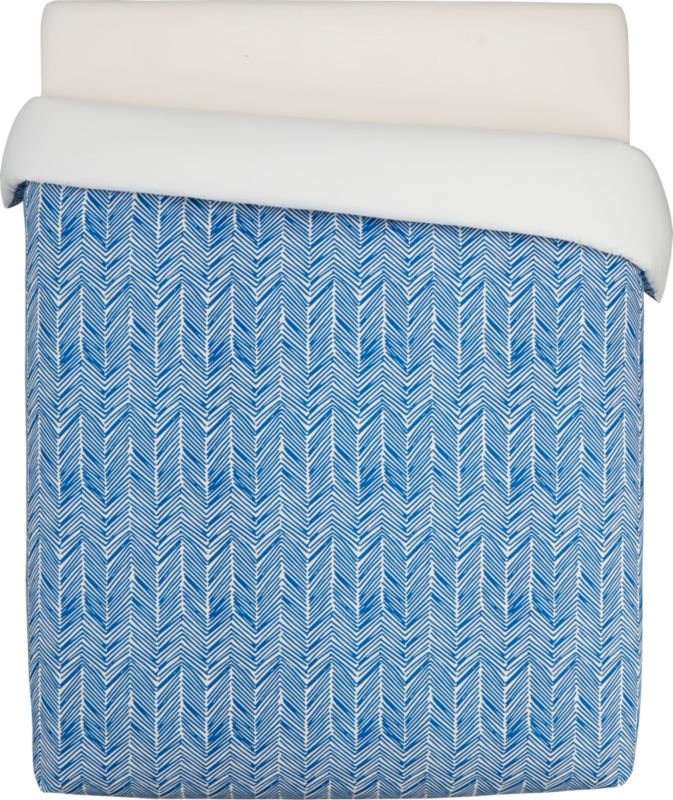 blue chevron full/queen duvet