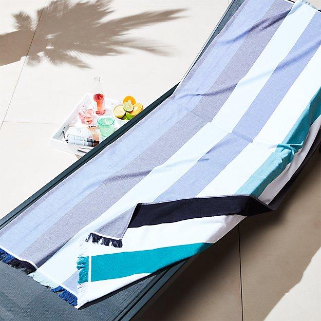 la mer bleue beach towel CB2