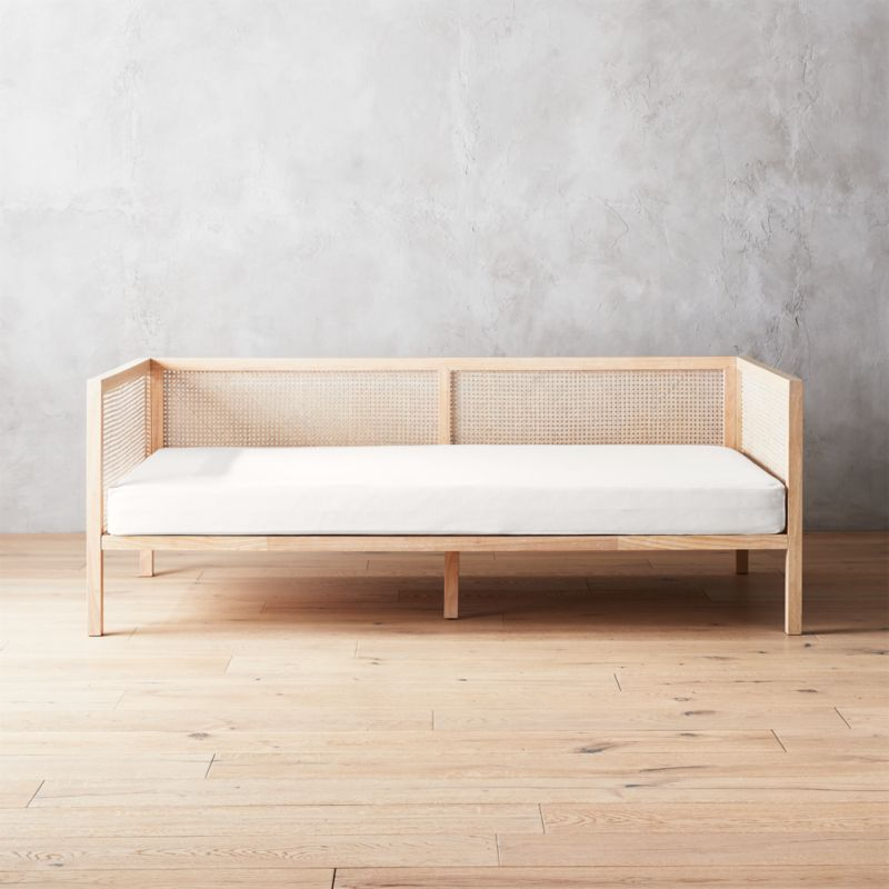 Boho Natural Daybed With Pearl White Mattress Cover