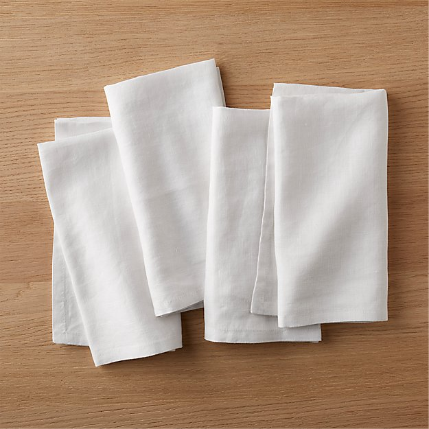 set of 4 bolt white linen napkins