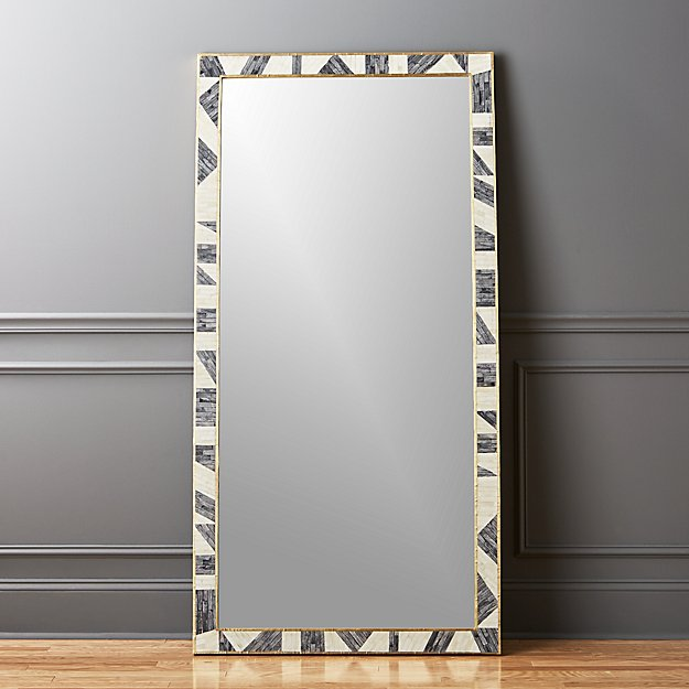 Grace bone inlay mirror 36 x72 cb2 for Framed floor mirror