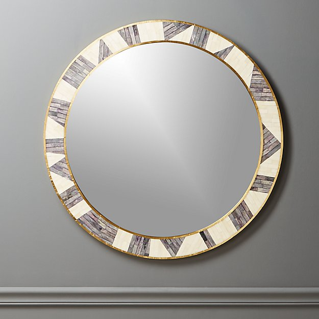 Grace Bone Inlay Round Wall Mirror 32""