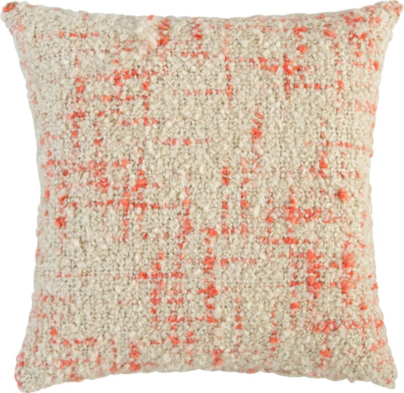 "bouclé orange 20"" pillow with feather-down insert"