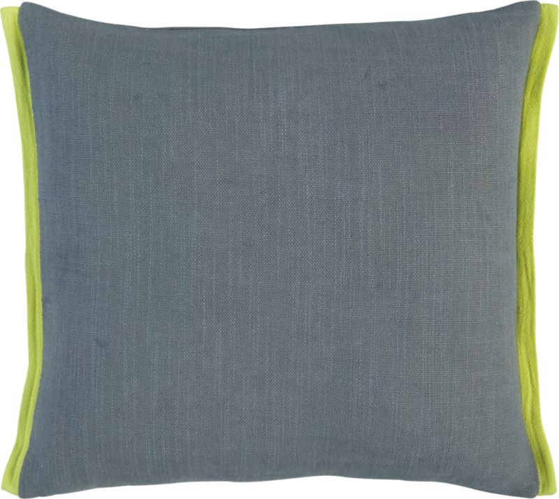 "boundary grey-chartreuse 18"" pillow with feather-down insert"