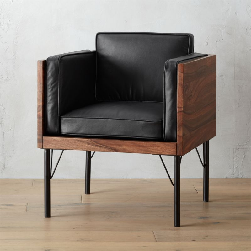 borough leather and dark wood chair CB2