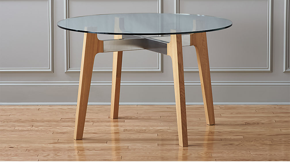 Brace wood and glass dining table reviews cb2 for How to make lucite furniture